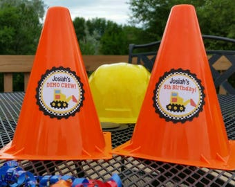 2pc Personalizd Construction Party Themed Centerpiece Cones, Emergency Cones Table Decor
