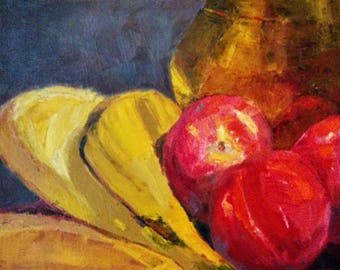 Bananas and peaches  fruits still life oil painting