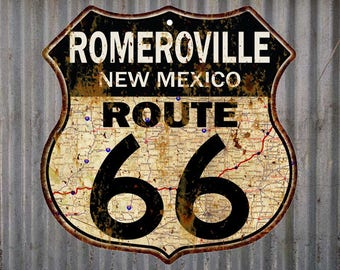 Romeroville, New Mexico Route 66 Vintage Look Rustic 12X12 Metal Shield Sign S122191