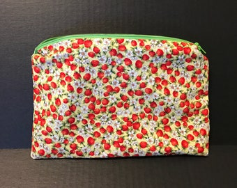 Tiny Red Strawberries and Flowers | make up bag, money bag, cosmetic bag, anything bag, zipper pouch, Plum & Khloe Design bag.