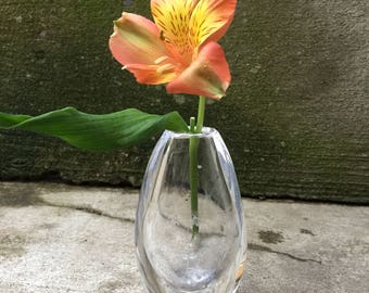 Glass Vase, Vintage Flower Vase, Kosta Glass Vase 44329, Etched Glass
