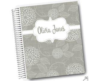 Floral Linen | Gray, Notebook