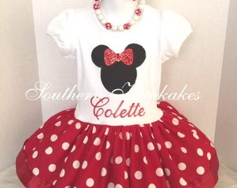 Minnie Mouse Disney Inspired Red Polka 2pc. Dot Twirl Dress Bow Custom All Sizes Trip Vacation Birthday Pageant 18m 24m 2t 3t 4t 5 6 8 10 12