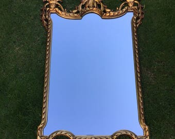 Stunning Italian Antique Gold Restored Mirror Made From Wood and Plaster.