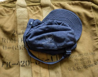 1950's USAF USAAF Air Force Flight Cap Pilots Winter Wool Lined Hat USN Watchcap Buzz Rickson rrl nigel cabourn ww2 real mccoy hunting biker
