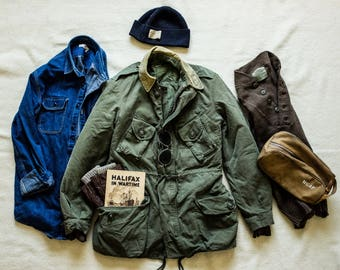 1960s Canadian Combat Field Parka Liner Lined Olive Drab Corduroy Collar Winter Jacket Coat Buzz Rickson Nigel Cabourn Filson rrl army biker