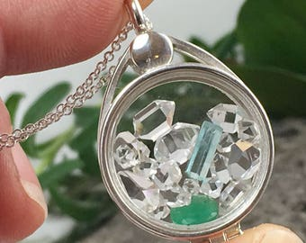 Emerald and Herkimer Diamonds Quartz Crystals Sterling Silver Floating Locket Pendant of AAA+ Grade Natural Micro Crystals