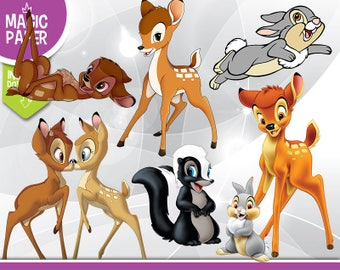 Bambi Clipart - Disney Digital 300 DPI PNG Images, Photos, Scrapbook, Digital, Cliparts - Instant Download