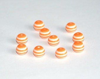10 striped orange and white 8mm resin beads