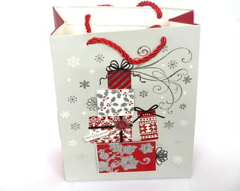 1 pouch, Christmas gift bag grey patterns gift 18 x 24 x 8 cm