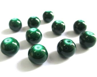 10 pearls green painted glass 10mm (T)
