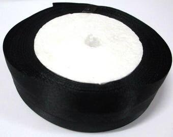 1 reel 22 m colored 20mm black satin ribbon