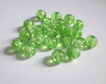 20 green (P-11) 6mm Crackle glass beads