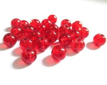 20 beads red cracked glass 6mm (20 P)