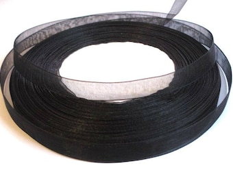 10 m 10mm black organza Ribbon