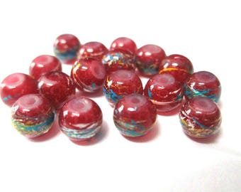20 multicolored, red painted glass 6mm beads