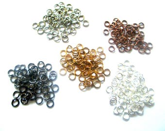 Lot 500 jump rings 4mm mix colors