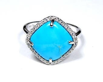 100% Natural American Sleeping Beauty Turquoise 925 Sterling Silver Ring size 7 sku TQR4