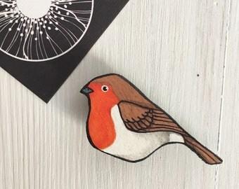 Wooden pin Robin