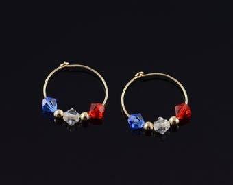 14k Red White Blue Crystal Circle Hoop Earrings Gold