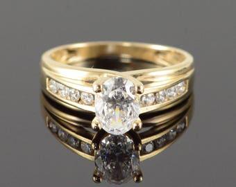 14k 1.50 CTW CZ Travel Engagement Ring Gold