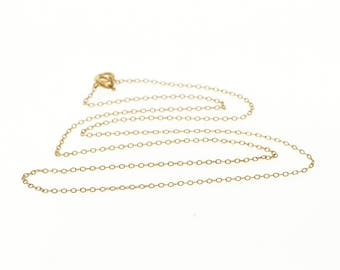 """14k 1.0mm Cable Link Chain Necklace Gold 15"""""""