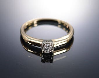 14k 0.20 Ct Old Mine Cut H/VS2 Solitaire Diamond Engagement Ring Gold