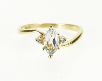 14k Blue Topaz Diamond Accented Marquise Bypass Ring Gold