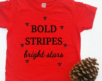 """Infant & toddler """"stripes and stars"""" red crew tee"""