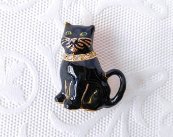 VINTAGE MONET Enameled Cat Brooch-Pin-Rhinestone Collar-Black-Gold-Green Stone Eyes-Signed-All Orders Only 99c Shipping!