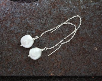 Sterling Silver Fresh Water Pearl  Ear Threaders. Natural ,, boho ,,Brides maid ..Wedding ,,Every day ..Summer wear
