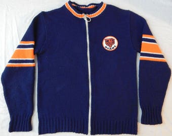 Chicago Bears Wool Zippered Cardigan Sweater - Small Mens Blue S NFL