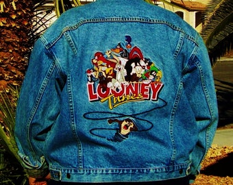 Denim LOONEY TUNES Jacket Jean XL Warner Bros Vintage Mens Women's Blue Embroidered Unisex Classic Stamped Buttons 4 Pockets Near Mint Cond