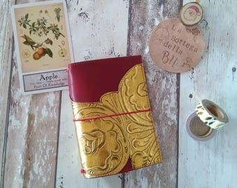 Baroque Fauxdori Traveler's Notebook TN in red leather and gold A6