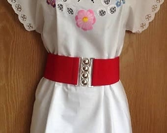 Traditional White  Hungarian Hand Embroidered folk art blouse
