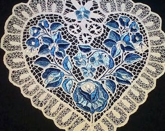 Handmade Hungarian Lace Hart Embroidery from Hungary