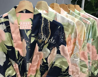 Bridesmaid Blossom Floral Robes 4, Personalized Satin Robes Wedding Bridal Shower Party Gift Bride Silk Robes Monogram Bridal Robes
