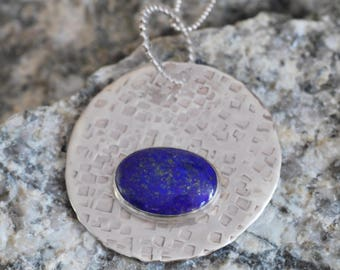 Sterling Silver Lapis Lazuli Textured Pendant
