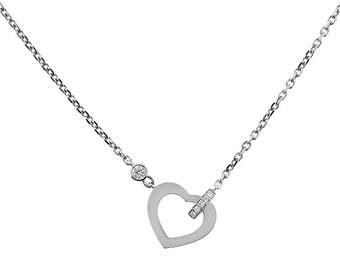 Heart Necklace - 18k White Gold - Diamond Necklace - Heart Jewelry [#12192]