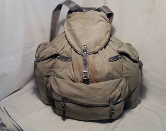 Vintage 1970's Tourist Gray Canvas Backpack with Metal Pack-Saddle.Made in SWEDEN.