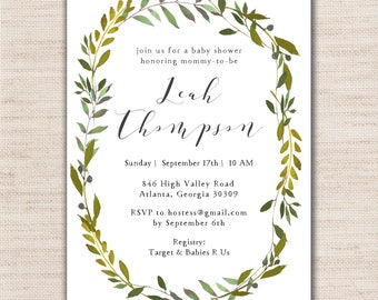 Greenery Baby Shower Invitations - DIGITAL FILE ONLY