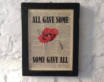 Vintage Remembrance themed framed wooden wall art