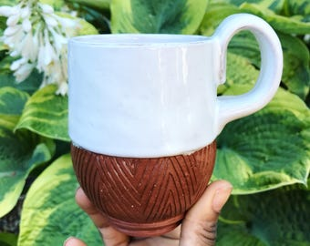 Ceramic Mug - Terracotta Coffee Cup - Red Clay Geometric - Pottery by Osa