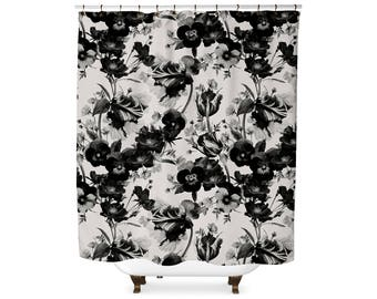 Black and White Floral pattern shower curtain