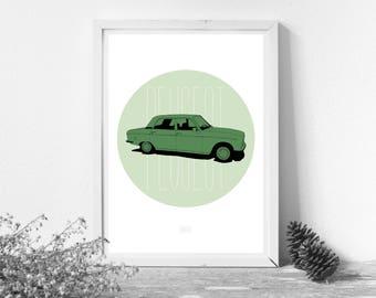 Peugeot 304 - Green & Green - A4 Print