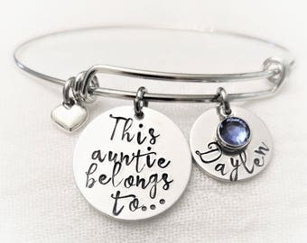 Personalized Aunt Bracelet, Auntie Bangle, Gift for Aunt, Aunt Gift, Aunt Jewelry, Hand Stamped Gift, Hand Stamped Jewelry, Name Bangle