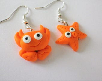 orange Starfish earrings and his funny polymer clay crab