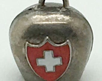 Swiss Cowbell Enamel Sterling Charm Rings White Cross Bracelet Charm 3 D Articulate  Switzerland Europe Travel Souvenir Memorabilia