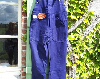 Vintage French work dungaree, new old stock, 100% cotton salopette, vintage, blue French workwear, Adolphe Lafont, made in France