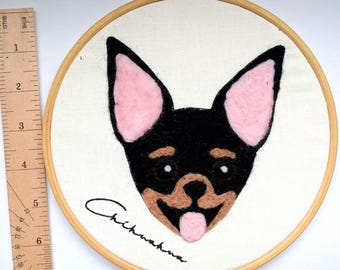 7 inch Chihuahua wall art; needle felted & embroidered black and tan dog